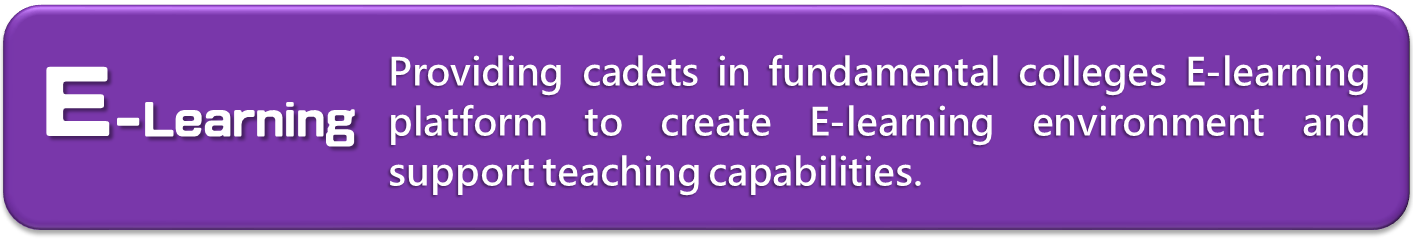 E-Learning:Providing cadets in fundamental colleges E-learning platform to create E-learning environment and support teaching capabilities.(New Window)